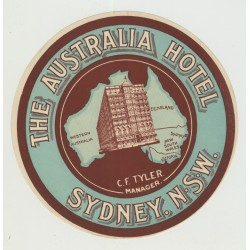 The Australia Hotel - Sydney / Australia (Vintage Luggage Label)