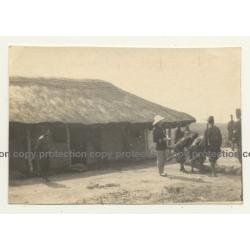 Congo-Belge: Colonial Master & Force Publique Soldiers / Bogoro (Vintage Photo B/W ~1930s)
