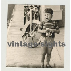 French Boy Eating Sweets & Making Funny Faces / Mobilette (Vintage Photo 1967)