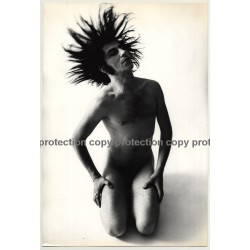 Great Shot Of Longhaired Nude Man In Motion / Gay Int (Vintage Large Photo Master 1980s)