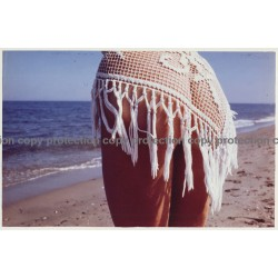 Rear View Of Semi Nude Woman's Butt On Sea Shore (Large Vintage Photo Master 1980s)