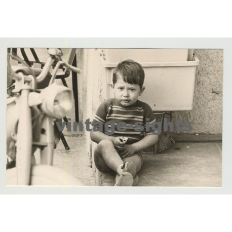 Pensive French Boy Eating A Chocolate Bar / Mobilette (Vintage Photo 1967)