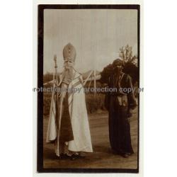 Zanzibar: Missionary & Indigenous Man / Sultan? (Vintage Sepia Photo ~1920s)