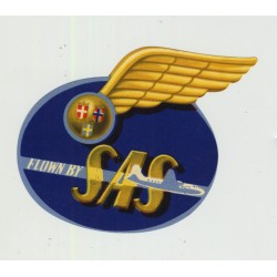 Flown By SAS (Rare Vintage Airline Luggage Label)