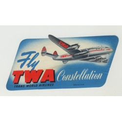 Fly TWA Trans World Airlines Constellation (Vintage Airlines Luggage Label)