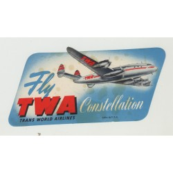 Fly TWA Trans World Airlines Constellation 2 (Vintage Airlines Luggage Label)