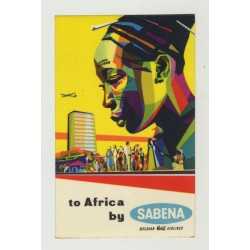 To Africa By Sabena / Belgian World Airlines (Vintage Luggage Label)