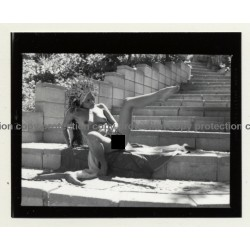 Pretty Indian Nude With Headdress & Scarf *14 (Vintage Contact Sheet Photo 1970s)