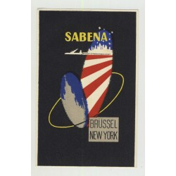 Sabena: Brüssel - New York / Belgian Airline (Vintage Luggage Label)