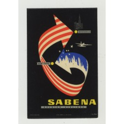Sabena: Brüssel - New York / Belgian Airlines - Linsmo Bruxelles (Vintage Luggage Label)
