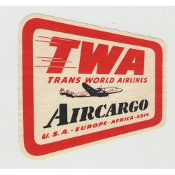 TWA Trans World Airlines - Aircargo (Vintage Luggage Label)