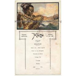 Vintage Menu Paquebot Anversville 31 Oct. 1930 / Congo - Tribal - Steamer