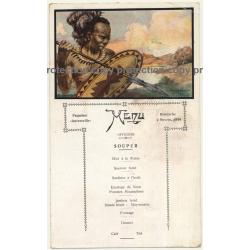 Vintage Menu Paquebot Anversville 2. Novem. 1930 / Congo - Tribal - Steamer