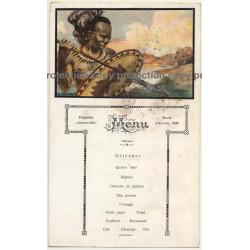 Vintage Menu Paquebot Anversville 4. Novem. 1930 / Congo - Tribal - Steamer