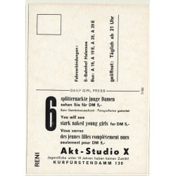 Nude Showgirl Reni / Akt-Studio X - Kurfürstendamm (Vintage PC Berlin 1960s)