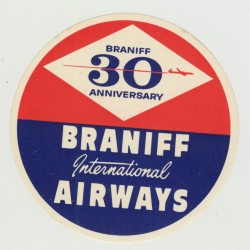 Braniff International Airways / 30 Anniversary (Vintage Luggage Label 1958)