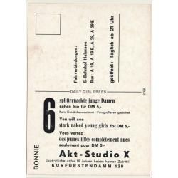 Nude Showgirl Bonnie / Akt-Studio X - Kurfürstendamm (Vintage PC Berlin 1960s)