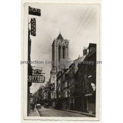 Caen - France: Rue Et Eglise Saint-Jaen / Bar André - Coiffeur (Vintage RPPC 1940)