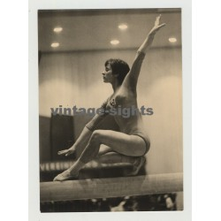 GDR Gymnast On Beam / DDR Turnerin Auf Barren (Vintage Real Photo Postcard)