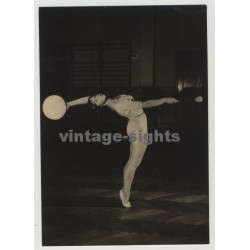 GDR Gymnast With Ball - Rhytmic Sport Gymnastics (Vintage Real Photo Postcard 1964)