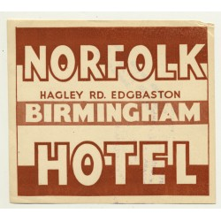 Norfolk Hotel - Birmingham / Great Britain (Vintage Luggage Label)