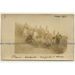 Pania - Illutombo / Congo - Belge: A Hunting Party / Natives (Vintage Photo Sepia 1913)