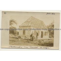 Congo - Belge: Restauration Of A Porch / Builders (Vintage Photo Sepia 1913)