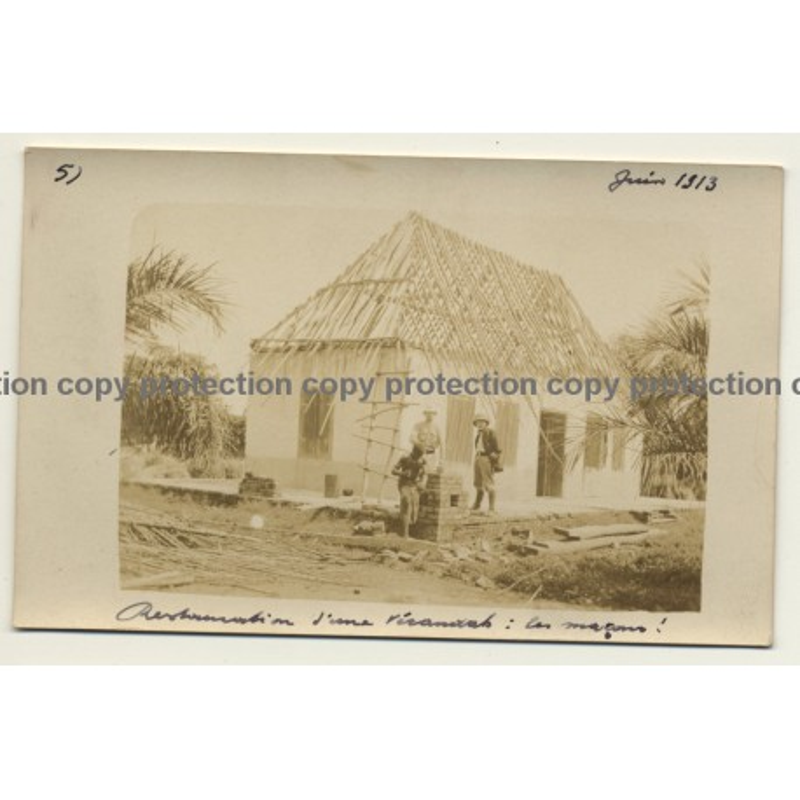 Congo - Belge: Restauration Of A Porch / Builders (Vintage Photo Sepia 1913)