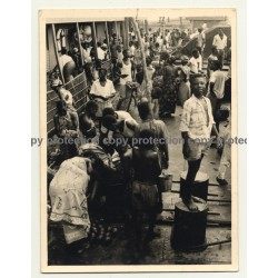 Congo - Belge: Natives Load Ship Freight / Bollard (Vintage Photo ~ 1940s/1950s)
