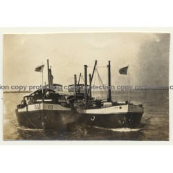 Congo - Belge: 2 Steam-Powered Vessels On Open Water (Vintage Photo ~1920s/1930s)