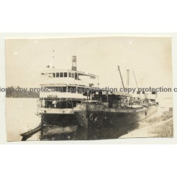 Congo - Belge: Steamship Flandre & Barge 012 At River Shore (Vintage Photo ~1920s/1930s)