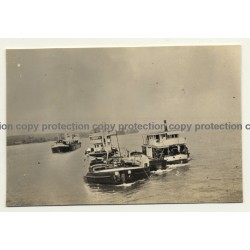 Congo - Belge: 4 Steambarges On Open Water (Vintage Photo ~1920s/1930s)