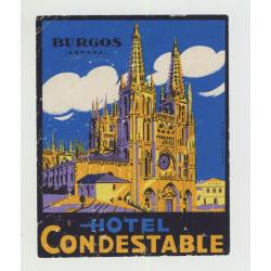 Hotel Condestable - Burgos / Spain (Vintage Luggage Label)