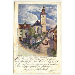 Laibach - Ljubljana / Slovenia: M. Ruppe: Zupna Cerkev V Skofji Loki (Vintage Artist Postcard)