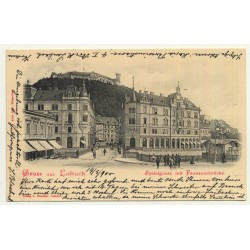 Laibach - Ljubljana / Slovenia: Spitalgasse Mit Franzensbrücke (Vintage Postcard 1900)