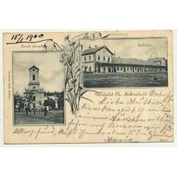 Crvenka - Cservenkárol / Serbia: Horn Hotel / Vadaszkürt Szálloda (Vintage Postcard 1910?)