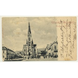 Köszeg - Güns / Hungary: Main Place & Church (Vintage Postcard 1898)