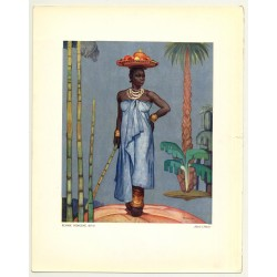Fernand Allard L'Olivier: Femme Indigène. Kivu (Vintage Art Print 32 x 25.5 CM ~1930s)