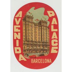 Hotel Avenida Palace - Barcelona / Spain (Vintage Luggage Label)