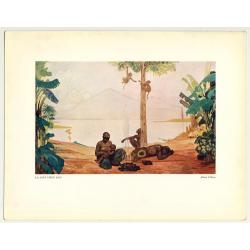 Fernand Allard L'Olivier: La Nuit Vient. Kivu (Vintage Art Print 32 x 25.5 CM ~1930s)