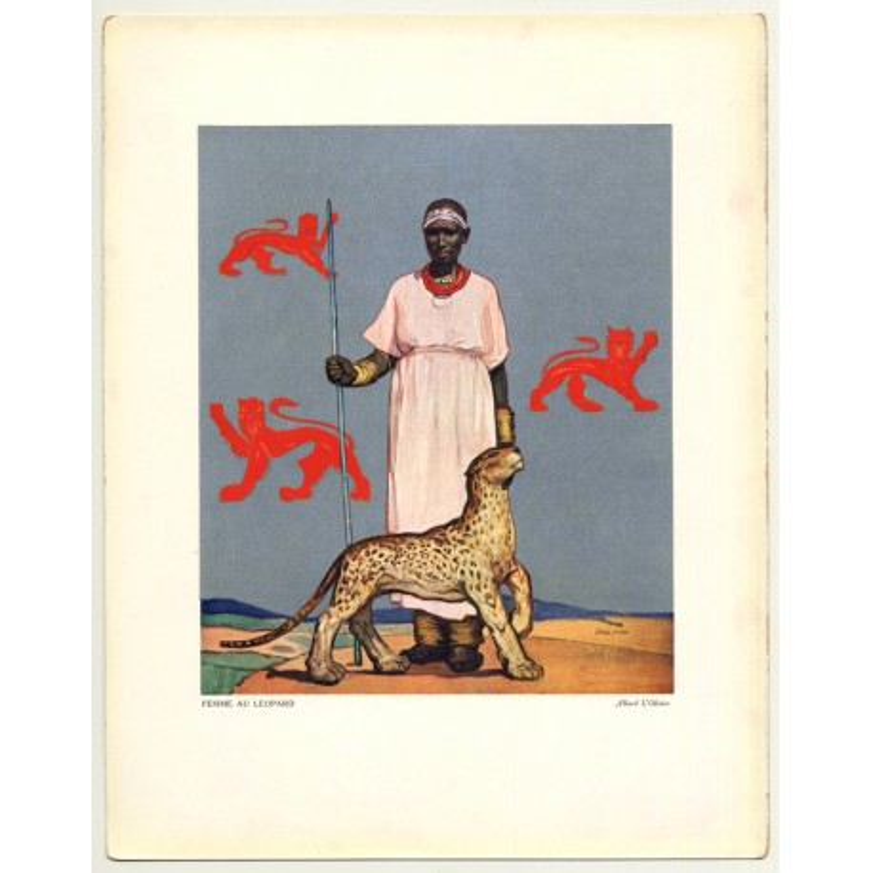 Allard L'Olivier: Femme Au Léopard (Vintage Art Print 32 x 25.5 CM ~ 1930s)