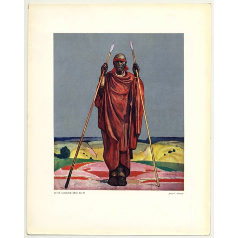 Allard L'Olivier: Chief Agriculteur. Kivu (Vintage Art Print 32 x 25.5 CM ~1930s)