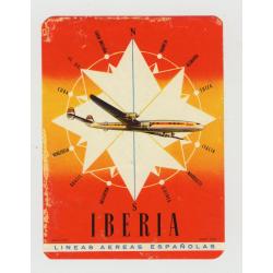 Iberia - Lineas Aereas Españolas (Vintage Airline Luggage Label: Fournier-Vitoria)