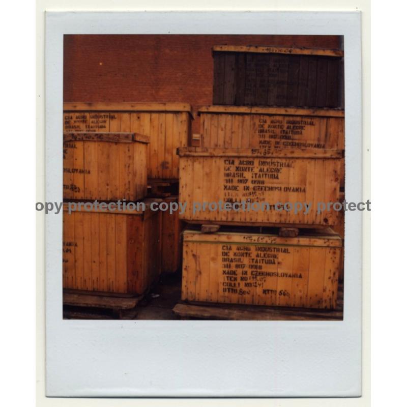 Photo Art: Wooden Shipping Crates I (Vintage Polaroid SX-70 1980s)