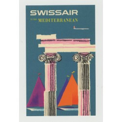 Swiss Air - To The Mediterranean (Vintage Airline Luggage Label)