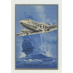 KLM Royal Dutch Air Lines / Sailing Ship - Plane  (Vintage Luggage Label)