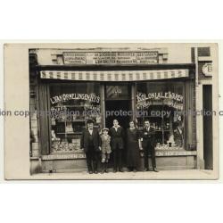 Maestrichterstr. 108 Waterloo: L. Van Ormelingen Nys Koloniale Waren (Vintage RPPC ~ 1910s)