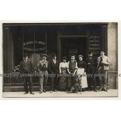 Rue de Mérode / Bruxelles: Delhaize Fres & Cie Le Lion / Cinzano (Vintage RPPC ~ 1910)