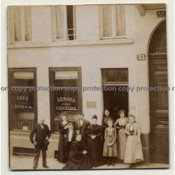 Bruxelles: Chez Gérard - Bières & Liqueurs / Animé (Vintage Photo 1899)