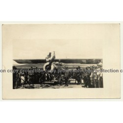 Spain: Propeller Plane Morane-Saulnier MS 65 / Filling Up Tank (Vintage RPPC 1924)